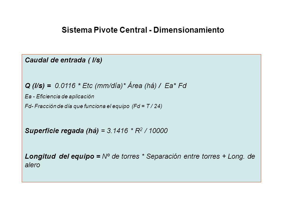 Sistema Pivote Central - Dimensionamiento Caudal de entrada ( l/s) Q (l/s) = 0.0116 * Etc (mm/día)* Área (há) / Ea* Fd Ea - Eficiencia de aplicación F