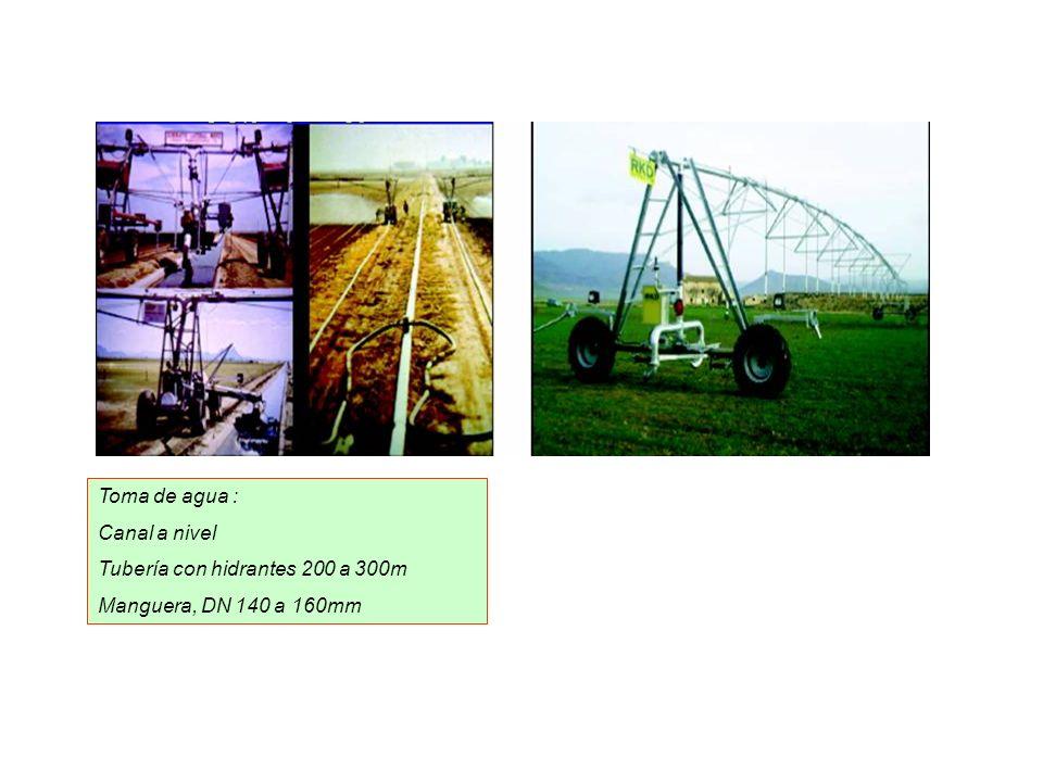 Toma de agua : Canal a nivel Tubería con hidrantes 200 a 300m Manguera, DN 140 a 160mm