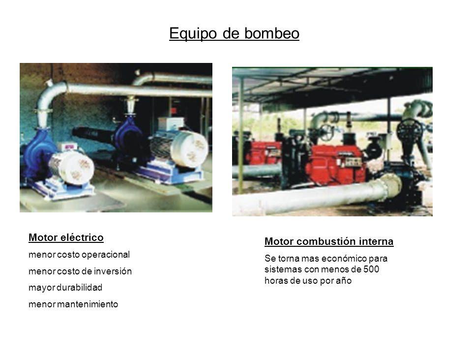 Equipo de bombeo Motor combustión interna Se torna mas económico para sistemas con menos de 500 horas de uso por año Motor eléctrico menor costo opera
