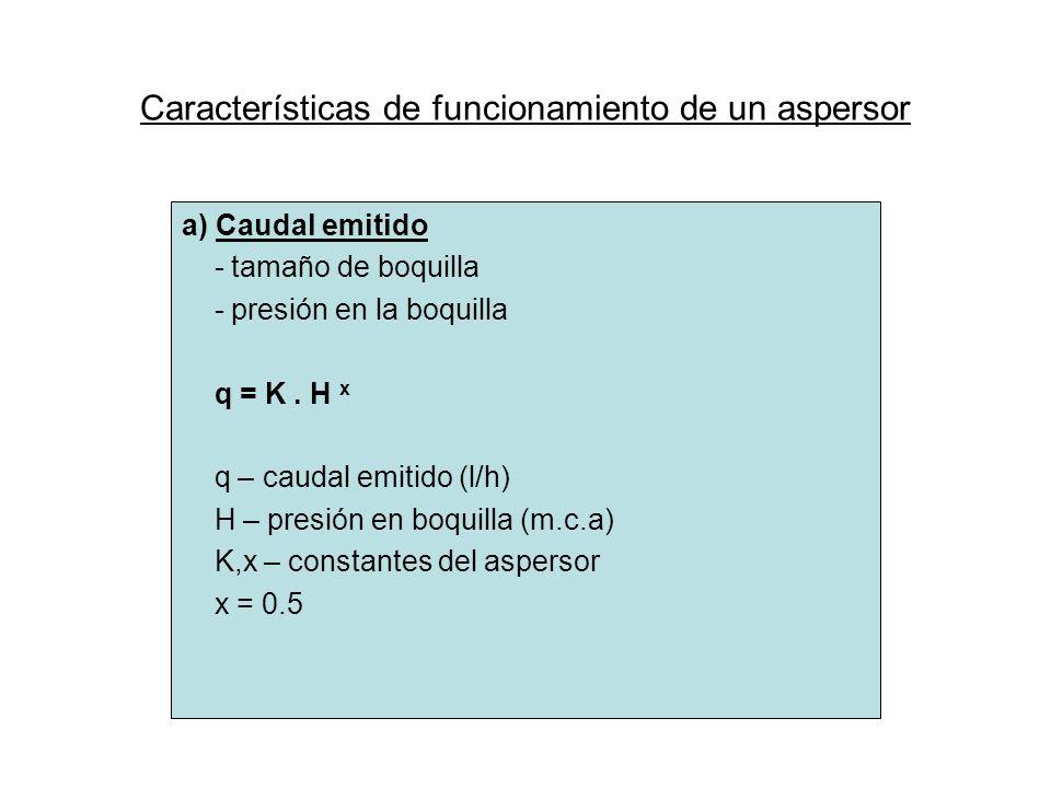 Características de funcionamiento de un aspersor a) Caudal emitido - tamaño de boquilla - presión en la boquilla q = K. H x q – caudal emitido (l/h) H