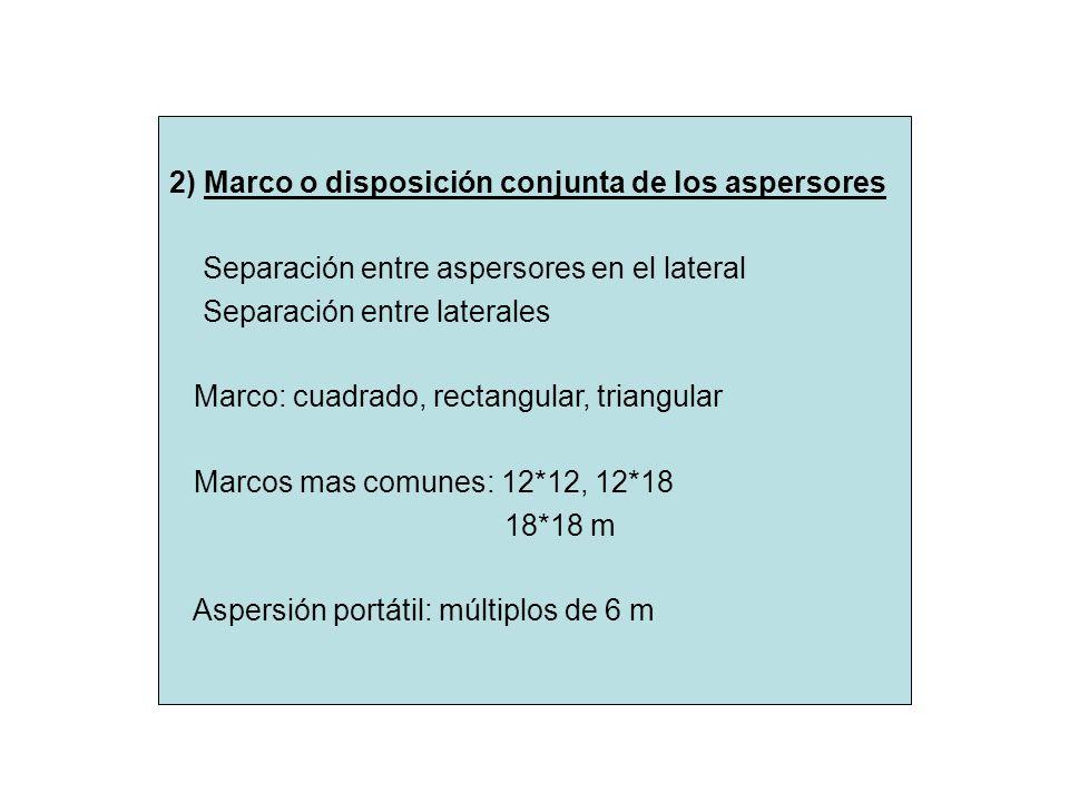 2) Marco o disposición conjunta de los aspersores Separación entre aspersores en el lateral Separación entre laterales Marco: cuadrado, rectangular, t