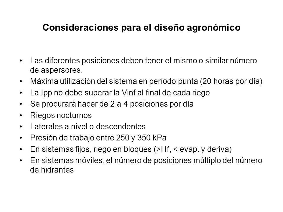 Consideraciones para el diseño agronómico Las diferentes posiciones deben tener el mismo o similar número de aspersores. Máxima utilización del sistem