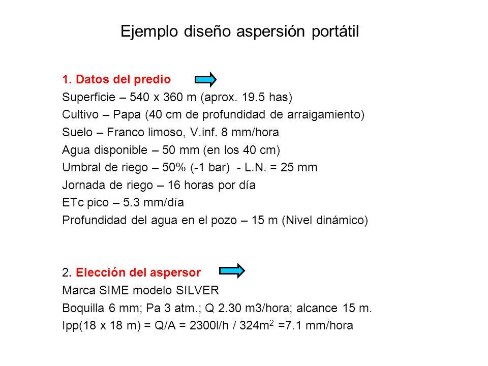 Ejemplo diseño aspersión portátil 1. Datos del predio Superficie – 540 x 360 m (aprox. 19.5 has) Cultivo – Papa (40 cm de profundidad de arraigamiento