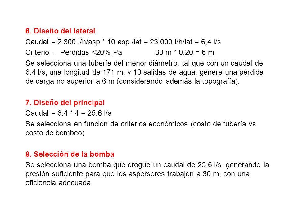 6. Diseño del lateral Caudal = 2.300 l/h/asp * 10 asp./lat = 23.000 l/h/lat = 6,4 l/s Criterio - Pérdidas <20% Pa 30 m * 0.20 = 6 m Se selecciona una