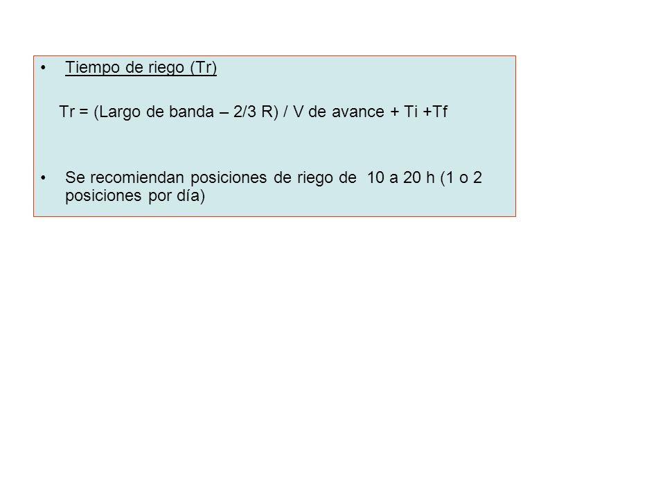 Tiempo de riego (Tr) Tr = (Largo de banda – 2/3 R) / V de avance + Ti +Tf Se recomiendan posiciones de riego de 10 a 20 h (1 o 2 posiciones por día)