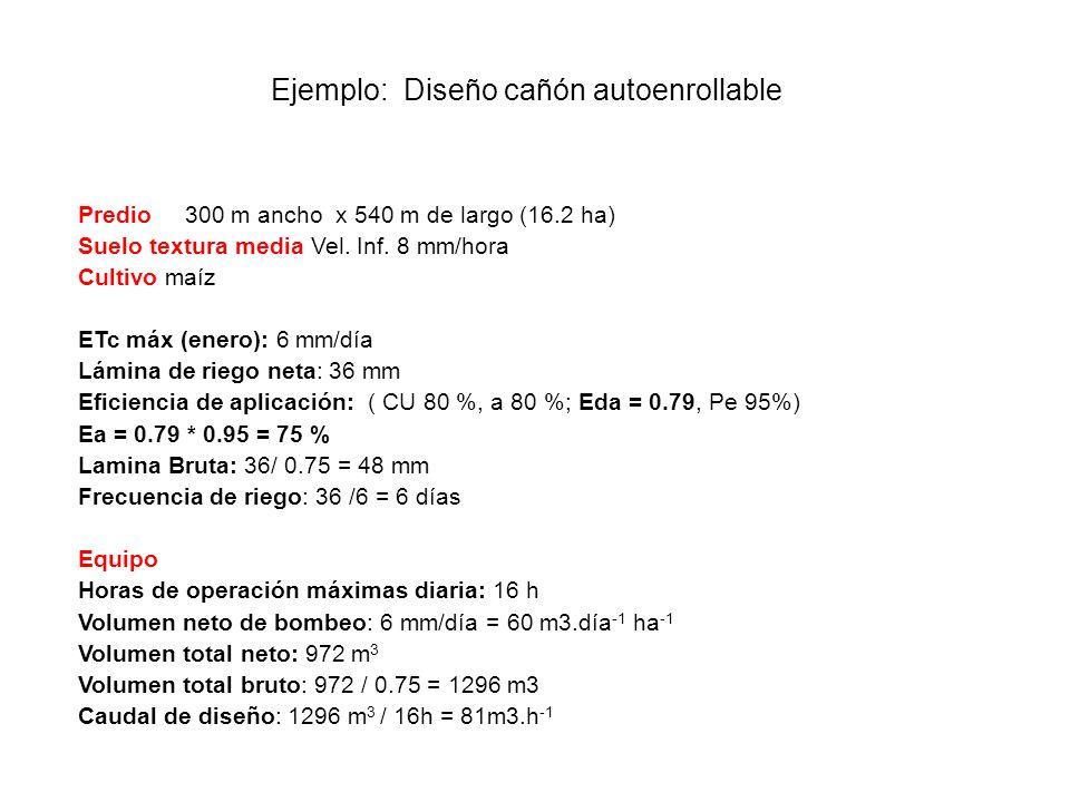 Ejemplo: Diseño cañón autoenrollable Predio300 m ancho x 540 m de largo (16.2 ha) Suelo textura media Vel. Inf. 8 mm/hora Cultivo maíz ETc máx (enero)