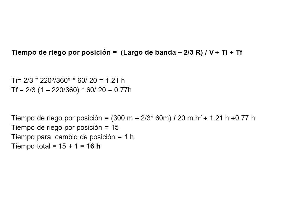 Tiempo de riego por posición = (Largo de banda – 2/3 R) / V + Ti + Tf Ti= 2/3 * 220º/360º * 60/ 20 = 1.21 h Tf = 2/3 (1 – 220/360) * 60/ 20 = 0.77h Ti