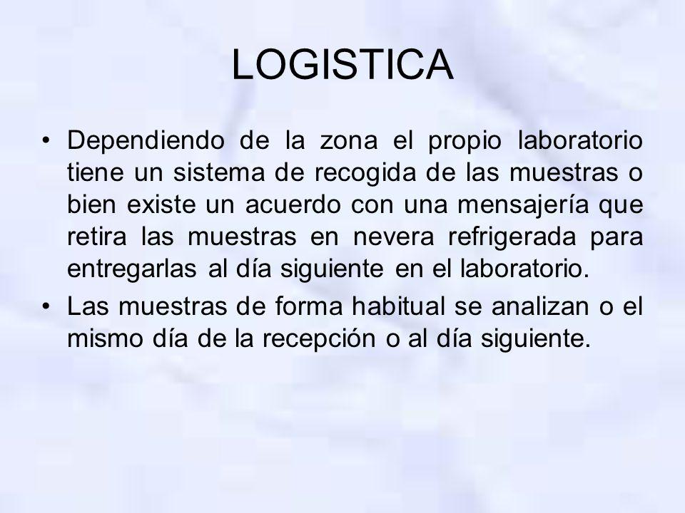 LOGISTICA Dependiendo de la zona el propio laboratorio tiene un sistema de recogida de las muestras o bien existe un acuerdo con una mensajería que re