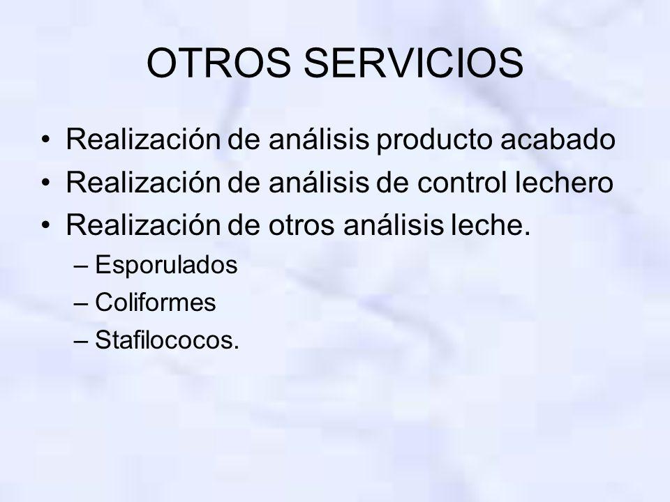 OTROS SERVICIOS Realización de análisis producto acabado Realización de análisis de control lechero Realización de otros análisis leche. –Esporulados