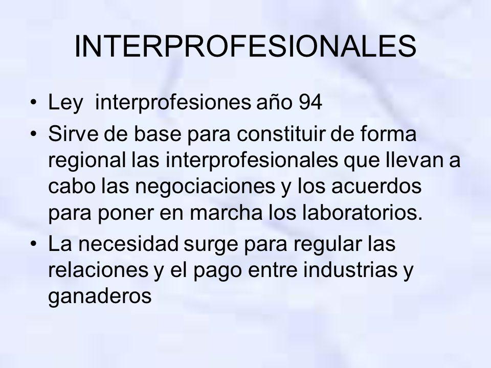INTERPROFESIONALES Ley interprofesiones año 94 Sirve de base para constituir de forma regional las interprofesionales que llevan a cabo las negociacio