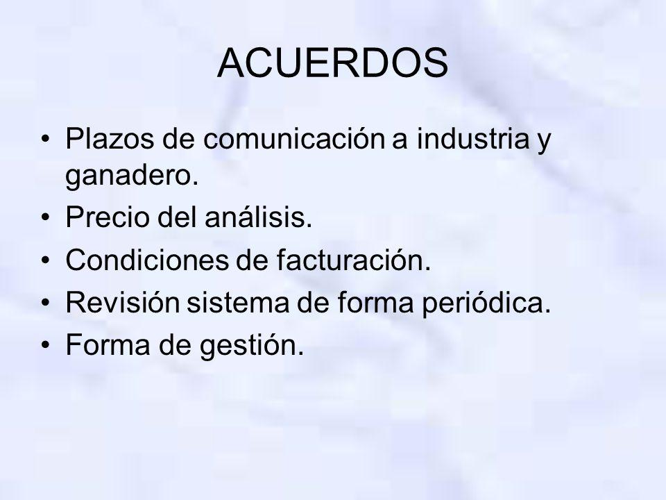 ACUERDOS Plazos de comunicación a industria y ganadero. Precio del análisis. Condiciones de facturación. Revisión sistema de forma periódica. Forma de