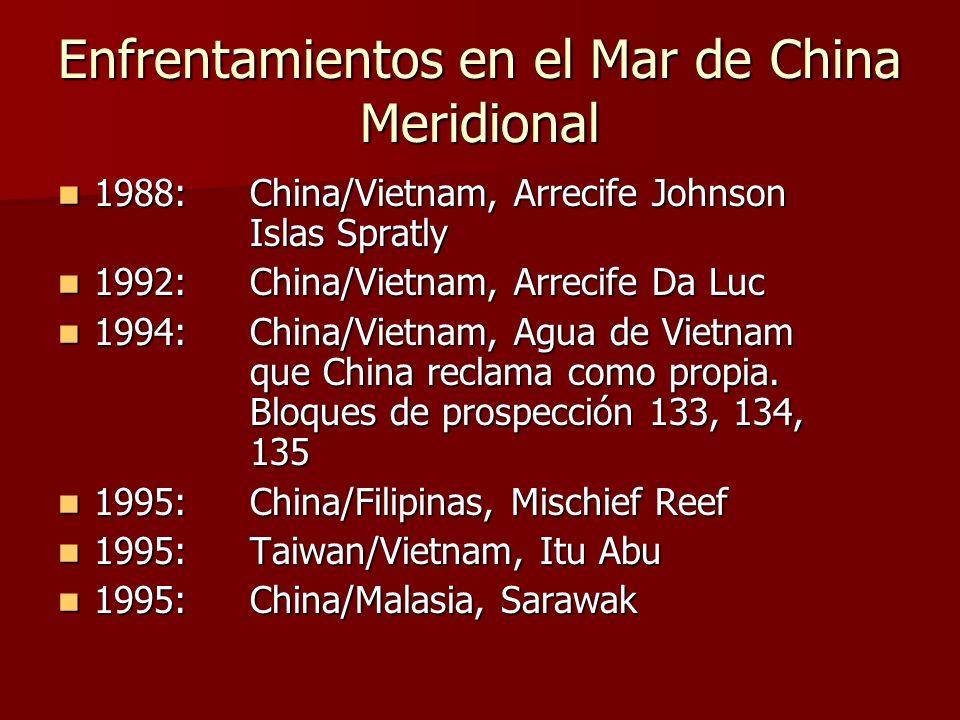 Enfrentamientos en el Mar de China Meridional 1988:China/Vietnam, Arrecife Johnson Islas Spratly 1988:China/Vietnam, Arrecife Johnson Islas Spratly 1992:China/Vietnam, Arrecife Da Luc 1992:China/Vietnam, Arrecife Da Luc 1994:China/Vietnam, Agua de Vietnam que China reclama como propia.