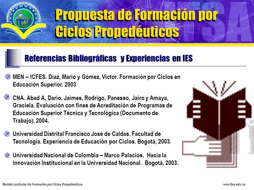 www.itsa.edu.co Modelo curricular de Formación por Ciclos Propedéuticos Propuesta de Formación por Ciclos Propedéuticos Referencias Bibliográficas y E