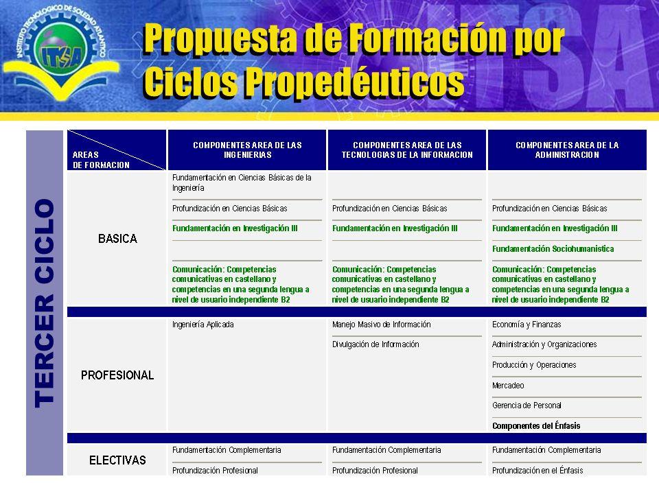 www.itsa.edu.co Modelo curricular de Formación por Ciclos Propedéuticos Propuesta de Formación por Ciclos Propedéuticos TERCER CICLO