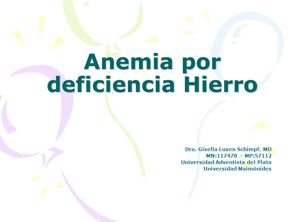 Anemia por deficiencia Hierro Dra. Gisella Luxen Schimpf. MD MN:117478 – MP:57112 Universidad Adventista del Plata Universidad Maimónides