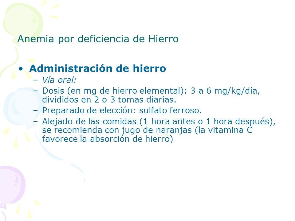 Anemia por deficiencia de Hierro Administración de hierro –Vía oral: –Dosis (en mg de hierro elemental): 3 a 6 mg/kg/día, divididos en 2 o 3 tomas dia