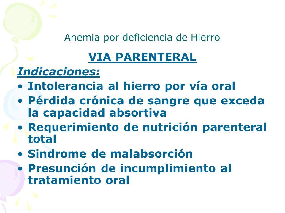 Anemia por deficiencia de Hierro VIA PARENTERAL Indicaciones: Intolerancia al hierro por vía oral Pérdida crónica de sangre que exceda la capacidad ab