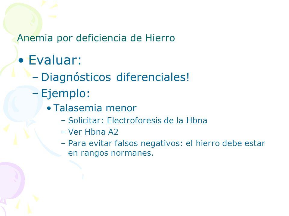 Anemia por deficiencia de Hierro Evaluar: –Diagnósticos diferenciales! –Ejemplo: Talasemia menor –Solicitar: Electroforesis de la Hbna –Ver Hbna A2 –P