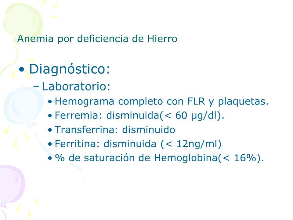 Diagnóstico: –Laboratorio: Hemograma completo con FLR y plaquetas. Ferremia: disminuida(< 60 μg/dl). Transferrina: disminuido Ferritina: disminuida (<