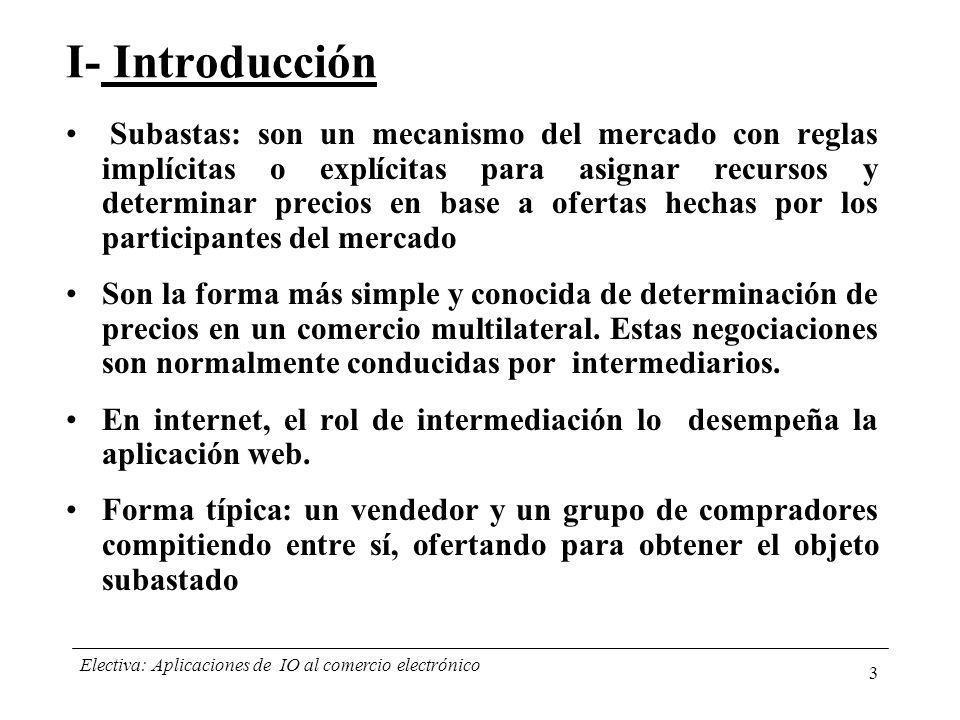Electiva: Aplicaciones de IO al comercio electrónico 4 Beneficios de las subastas online: –Mecanismo eficiente para llegar a un gran número de potenciales clientes o proveedores en corto plazo y bajos costos.