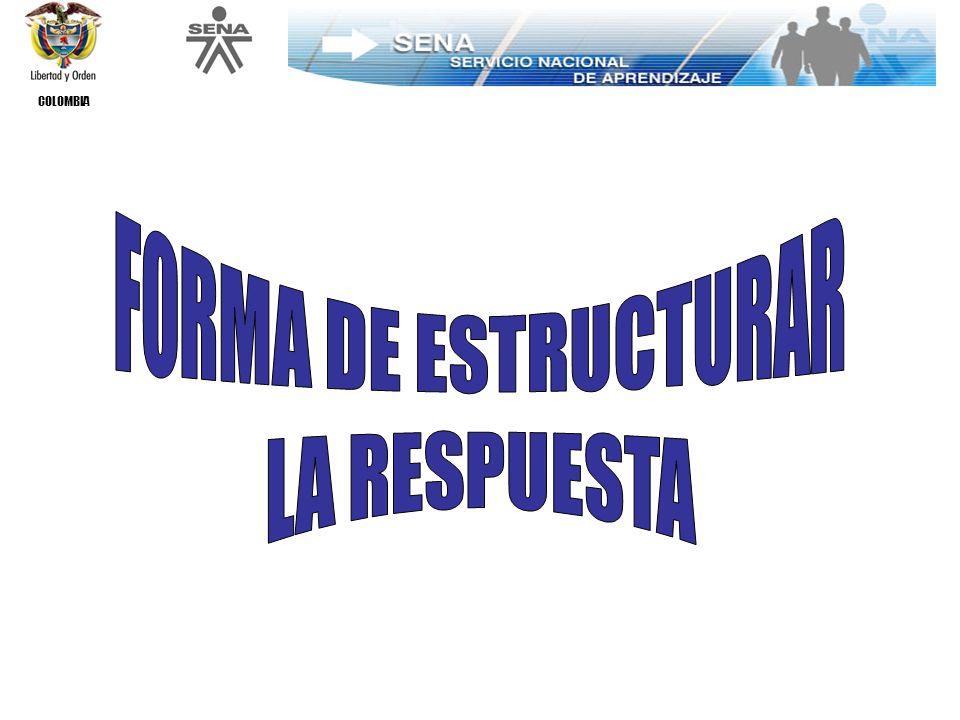 COLOMBIA FORMA DE ESTRUCTURAR LA RESPUESTA ASPECTOS DE CAMBIO ADMINISTRACIÓN DE LA FORMACIÓN ROL DEL DOCENTE Y DEL ALUMNO ENFOQUE PEDAGÓGICO Y METODOLÓGICO PROCESO DE ALISTAMIENTO Y EJECUCIÓN