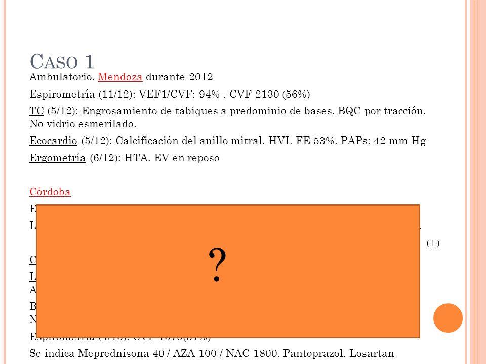 C ASO 1 Ambulatorio.Mendoza durante 2012 Espirometría (11/12): VEF1/CVF: 94%.