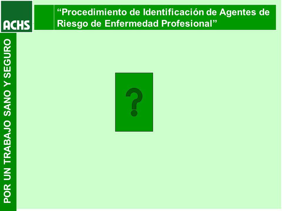 POR UN TRABAJO SANO Y SEGURO Procedimiento de Identificación de Agentes de Riesgo de Enfermedad Profesional