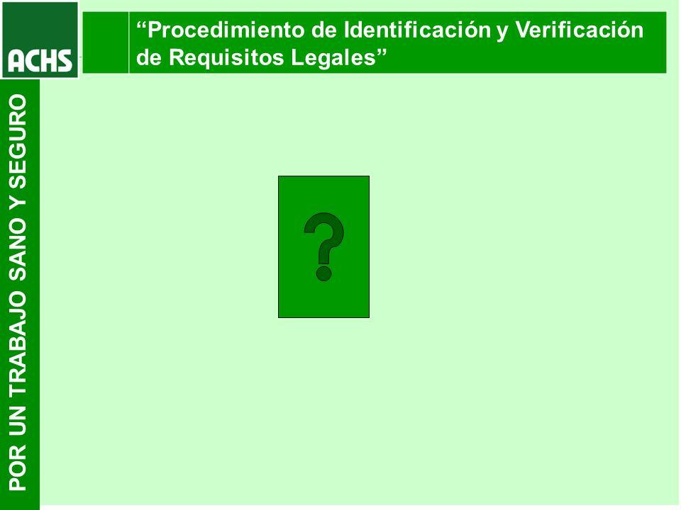 POR UN TRABAJO SANO Y SEGURO Procedimiento de Identificación y Verificación de Requisitos Legales