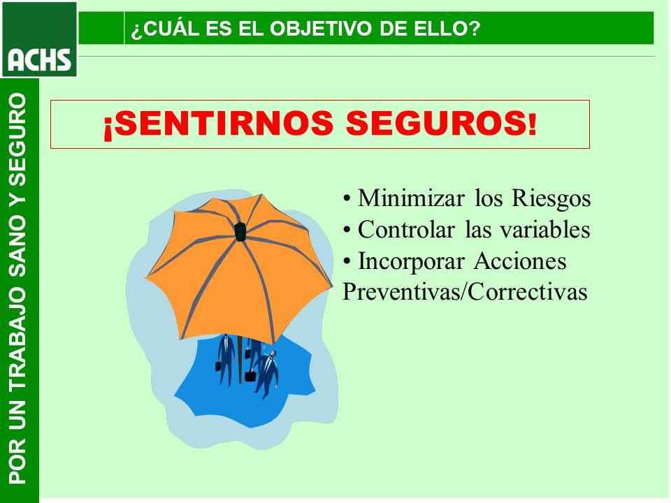 POR UN TRABAJO SANO Y SEGURO ¡SENTIRNOS SEGUROS ! Minimizar los Riesgos Controlar las variables Incorporar Acciones Preventivas/Correctivas ¿CUÁL ES E