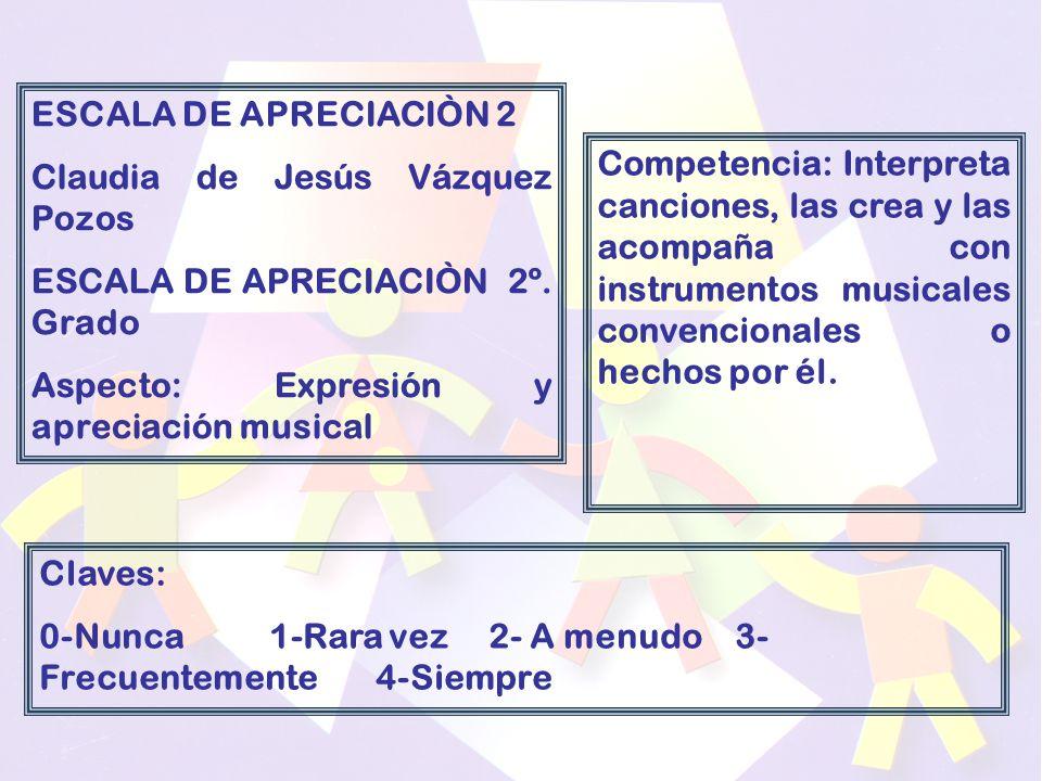 ESCALA DE APRECIACIÒN 2 Claudia de Jesús Vázquez Pozos ESCALA DE APRECIACIÒN 2º.