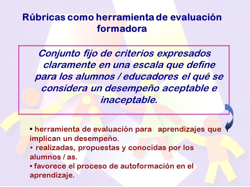 Rúbricas como herramienta de evaluación formadora Conjunto fijo de criterios expresados claramente en una escala que define para los alumnos / educadores el qué se considera un desempeño aceptable e inaceptable.