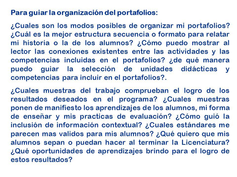 Para guiar la organización del portafolios: ¿Cuales son los modos posibles de organizar mi portafolios.