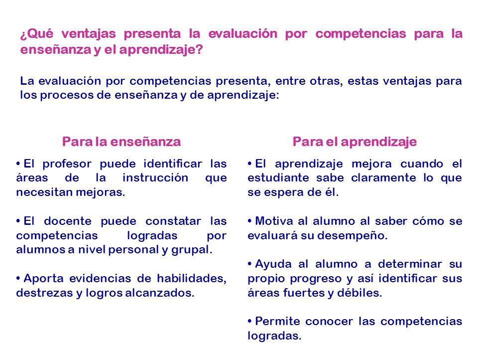 ¿ Qué ventajas presenta la evaluación por competencias para la enseñanza y el aprendizaje.