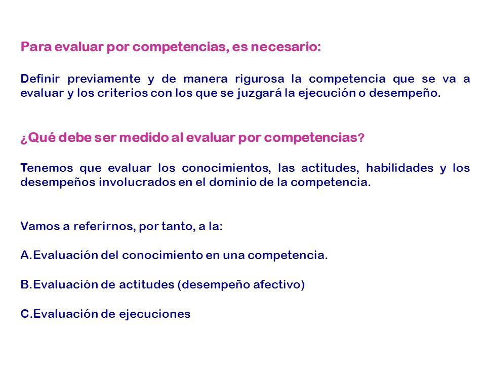 A.La evaluación del conocimiento en una competencia.