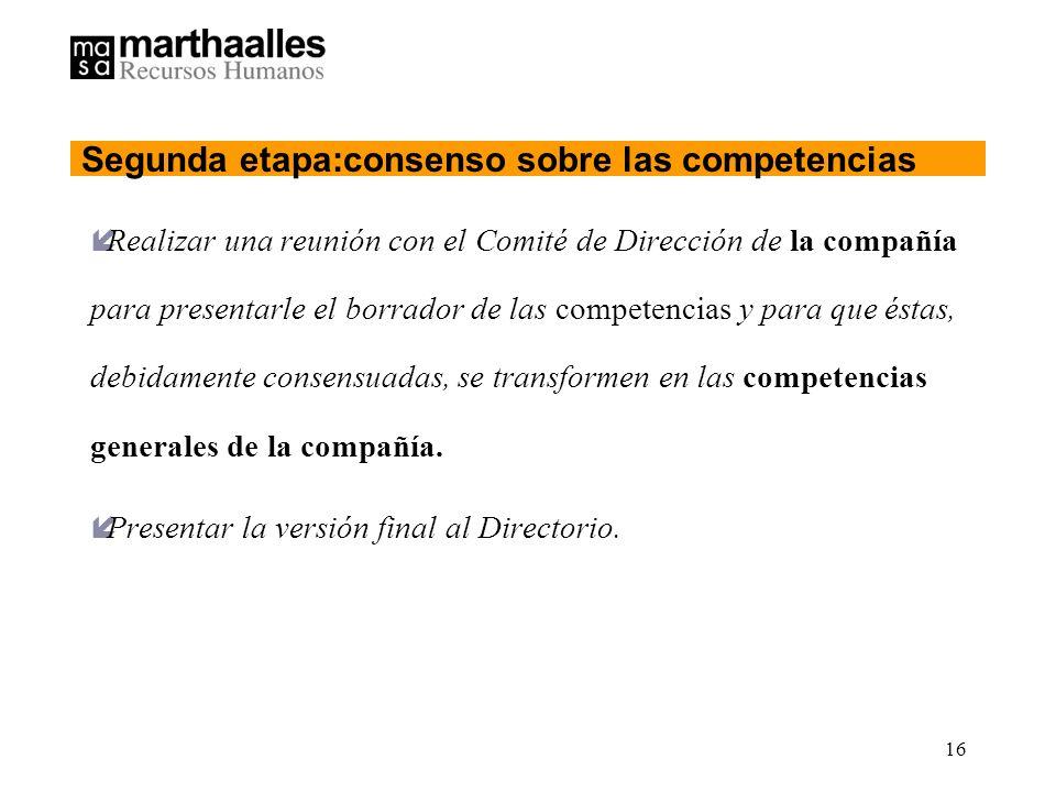 16 íRealizar una reunión con el Comité de Dirección de la compañía para presentarle el borrador de las competencias y para que éstas, debidamente consensuadas, se transformen en las competencias generales de la compañía.