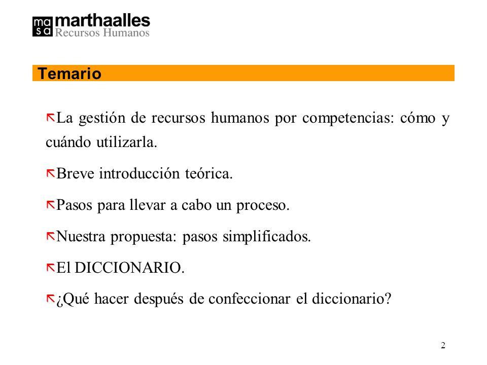 2 Temario ã La gestión de recursos humanos por competencias: cómo y cuándo utilizarla.