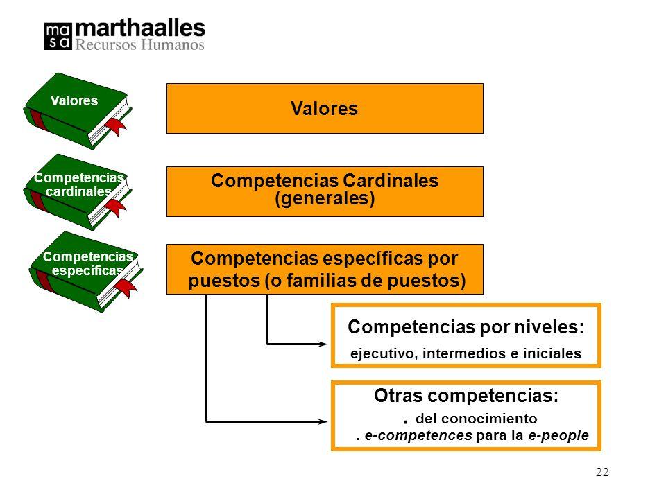 22 Competencias por niveles: ejecutivo, intermedios e iniciales Competencias específicas por puestos (o familias de puestos) Competencias Cardinales (generales) Otras competencias:.