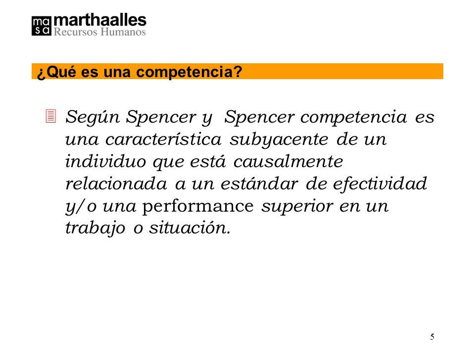 5 3 Según Spencer y Spencer competencia es una característica subyacente de un individuo que está causalmente relacionada a un estándar de efectividad y/o una performance superior en un trabajo o situación.