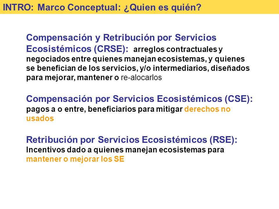 Compensación y Retribución por Servicios Ecosistémicos (CRSE): arreglos contractuales y negociados entre quienes manejan ecosistemas, y quienes se benefician de los servicios, y/o intermediarios, diseñados para mejorar, mantener o re-alocarlos Compensación por Servicios Ecosistémicos (CSE): pagos a o entre, beneficiarios para mitigar derechos no usados Retribución por Servicios Ecosistémicos (RSE): Incentivos dado a quienes manejan ecosistemas para mantener o mejorar los SE