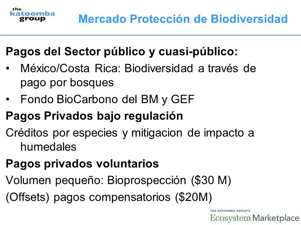 Pagos del Sector público y cuasi-público: México/Costa Rica: Biodiversidad a través de pago por bosques Fondo BioCarbono del BM y GEF Pagos Privados bajo regulación Créditos por especies y mitigacion de impacto a humedales Pagos privados voluntarios Volumen pequeño: Bioprospección ($30 M) (Offsets) pagos compensatorios ($20M) Mercado Protección de Biodiversidad