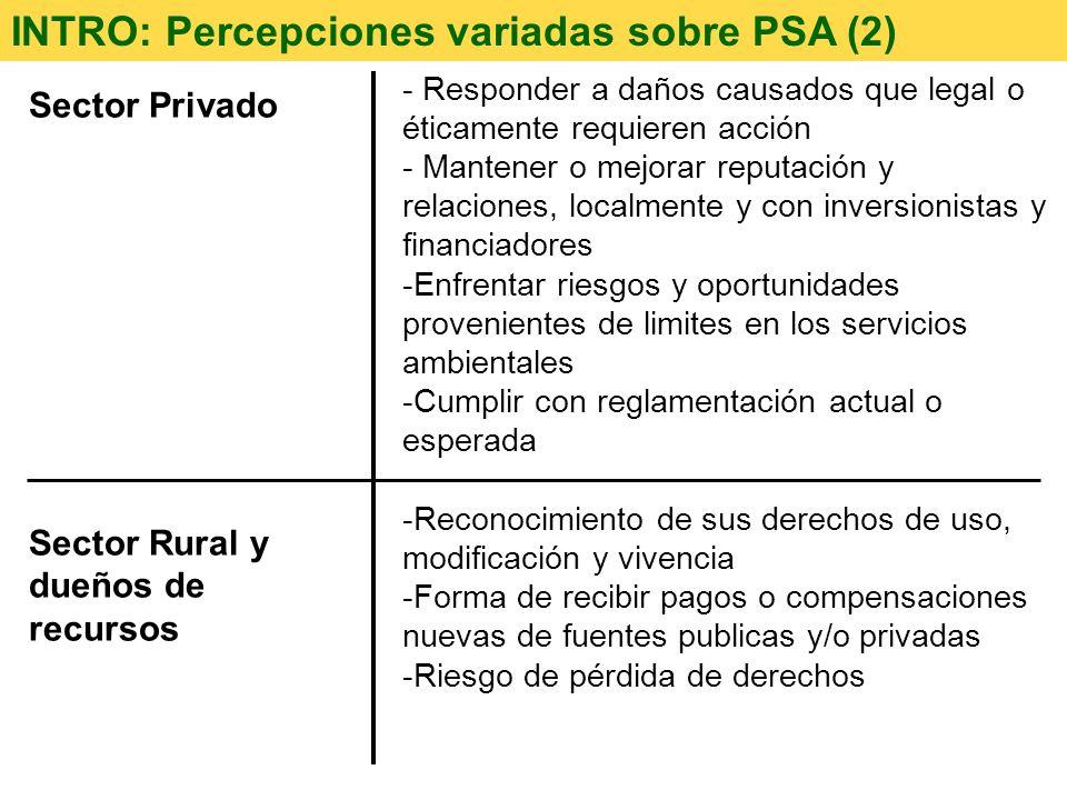 Sector Privado Sector Rural y dueños de recursos INTRO: Percepciones variadas sobre PSA (2) - Responder a daños causados que legal o éticamente requie