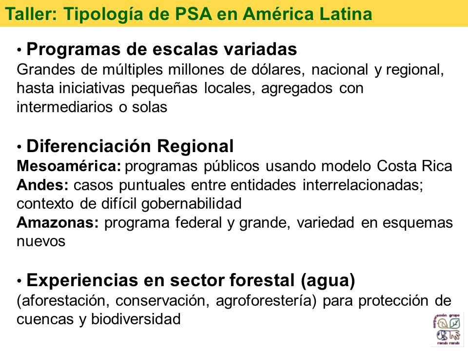 Taller: Tipología de PSA en América Latina Programas de escalas variadas Grandes de múltiples millones de dólares, nacional y regional, hasta iniciati