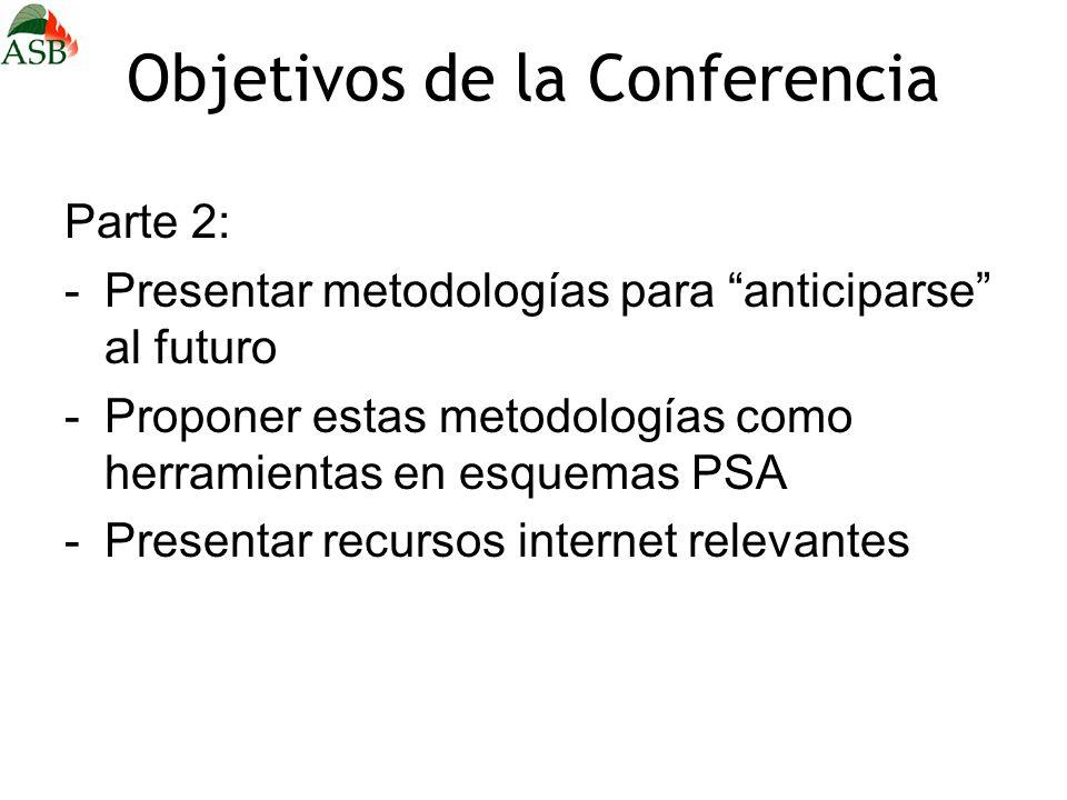 Objetivos de la Conferencia Parte 2: -Presentar metodologías para anticiparse al futuro -Proponer estas metodologías como herramientas en esquemas PSA -Presentar recursos internet relevantes