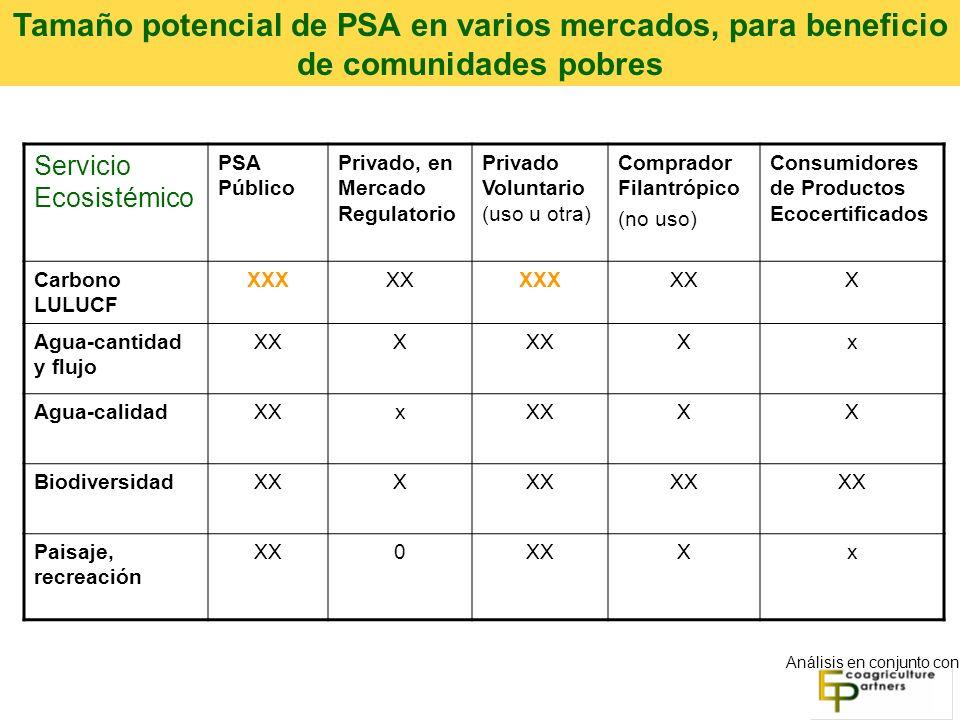 Servicio Ecosistémico PSA Público Privado, en Mercado Regulatorio Privado Voluntario (uso u otra) Comprador Filantrópico (no uso) Consumidores de Productos Ecocertificados Carbono LULUCF XXXXXXXXXXX Agua-cantidad y flujo XXX Xx Agua-calidadXXx XX BiodiversidadXXX Paisaje, recreación XX0 Xx Análisis en conjunto con Tamaño potencial de PSA en varios mercados, para beneficio de comunidades pobres