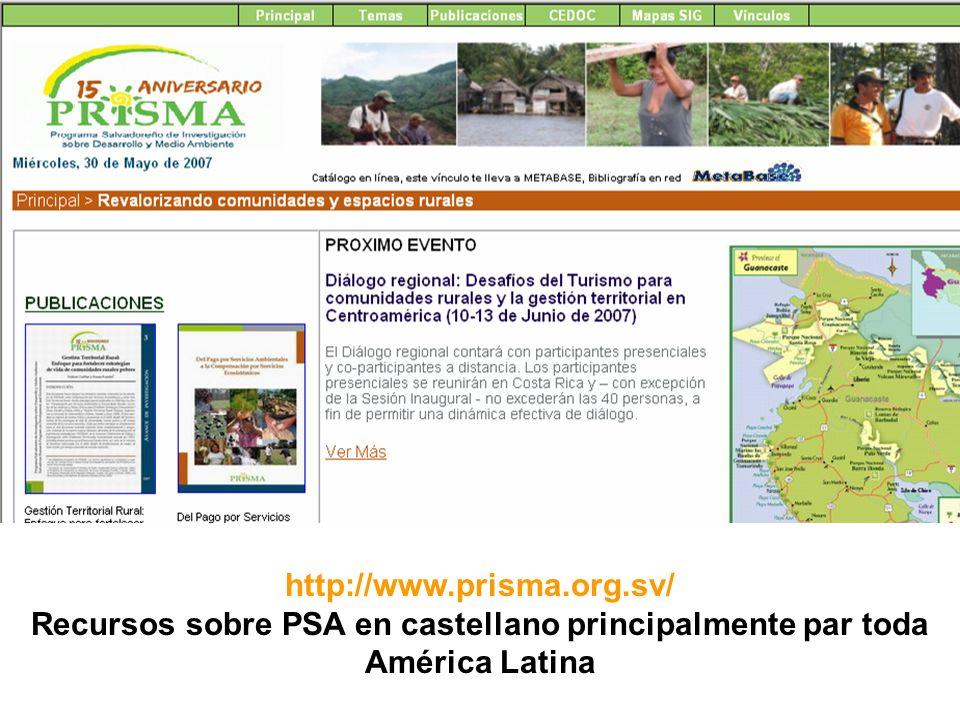 http://www.prisma.org.sv/ Recursos sobre PSA en castellano principalmente par toda América Latina