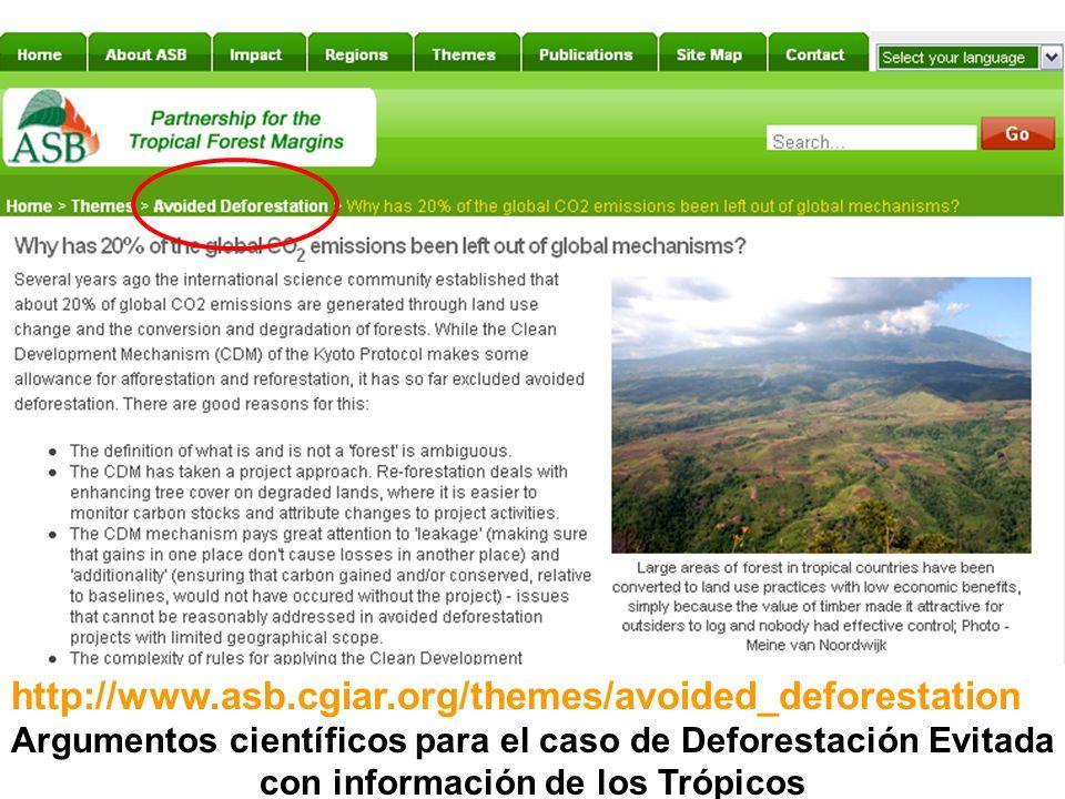 http://www.asb.cgiar.org/themes/avoided_deforestation Argumentos científicos para el caso de Deforestación Evitada con información de los Trópicos