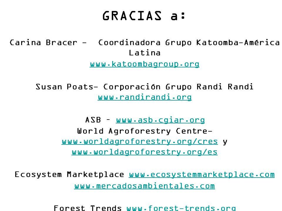 GRACIAS a: Carina Bracer - Coordinadora Grupo Katoomba-América Latina www.katoombagroup.org Susan Poats- Corporación Grupo Randi Randi www.randirandi.org www.randirandi.org ASB – www.asb.cgiar.orgwww.asb.cgiar.org World Agroforestry Centre- www.worldagroforestry.org/cres y www.worldagroforestry.org/es www.worldagroforestry.org/cres www.worldagroforestry.org/es Ecosystem Marketplace www.ecosystemmarketplace.comwww.ecosystemmarketplace.com www.mercadosambientales.com Forest Trends www.forest-trends.orgwww.forest-trends.org