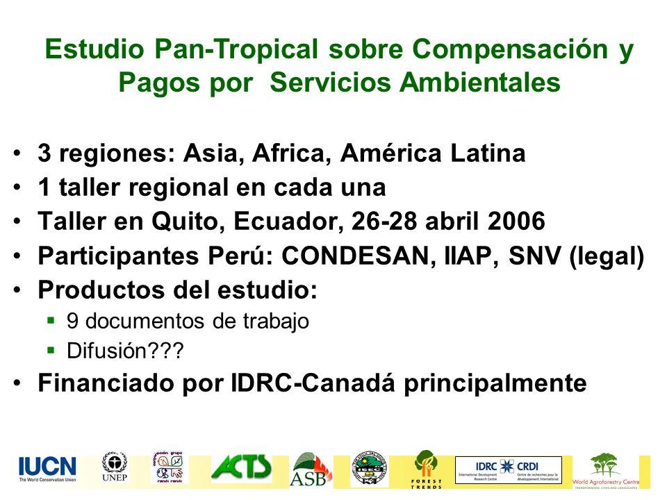 Estudio Pan-Tropical sobre Compensación y Pagos por Servicios Ambientales 3 regiones: Asia, Africa, América Latina 1 taller regional en cada una Talle