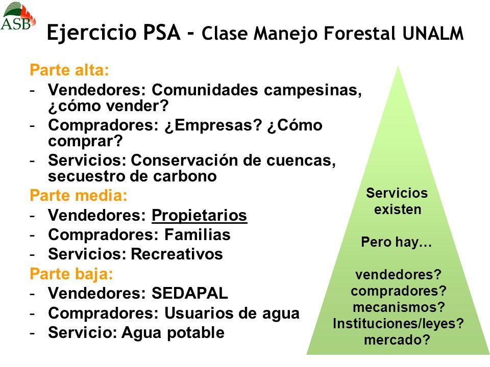 Ejercicio PSA - Clase Manejo Forestal UNALM Parte alta: -Vendedores: Comunidades campesinas, ¿cómo vender? -Compradores: ¿Empresas? ¿Cómo comprar? -Se