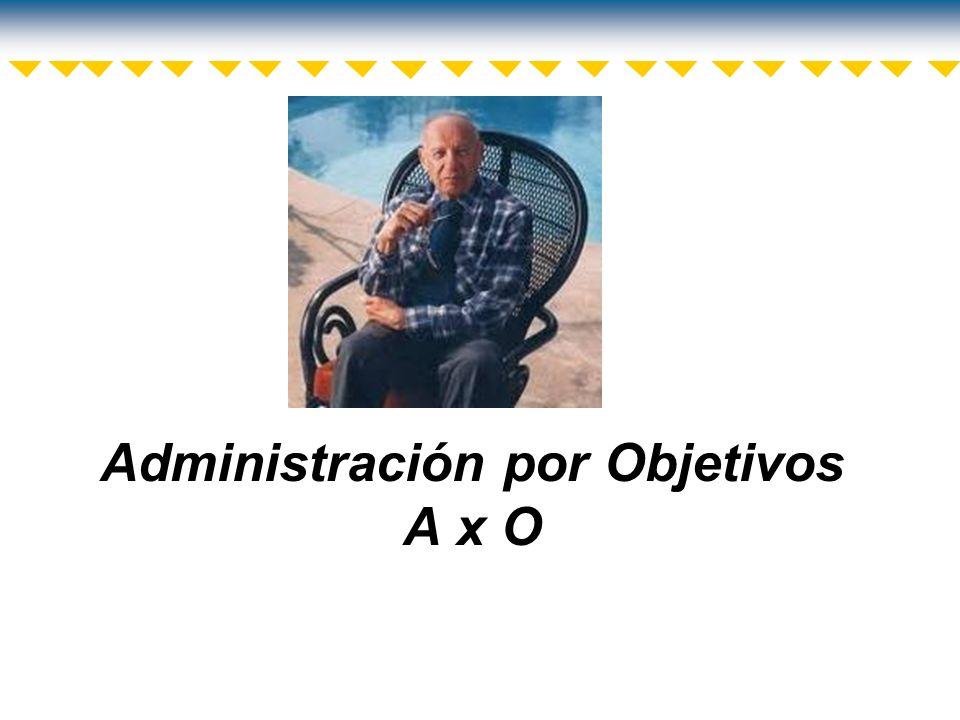 Administración por Objetivos (A x O) Peter Drucker es uno de los exponentes de la Administración por Objetivos.